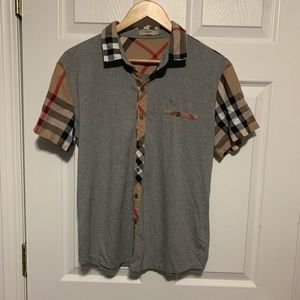 Vintage Burberry Dress Short Sleeve Pocket Shirt